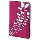 Hama CD Tasche Up to Fashion (für 48 Discs, CD / DVD / Blu-ray / Hörbücher, Mappe zur Aufbewahrung, platzsparend für Auto & Zuhause, Mit Schmetterlingsmotiv) Pink