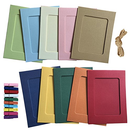 Paper Photo Frame 4x6 Kraft Paper Picture Frames 10 PCS DIY Cardboard Photo Frames with Wood Clips and Jute Twine (10 Colors)