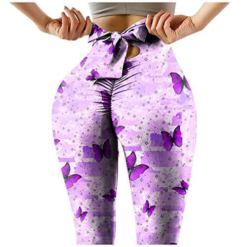 Leggings Deportivos Estampado de Mariposas Pantalones de Deporte para Mujer Leggins Push Up de Cintura Alta Mallas Transpirables Elásticos Pantalón Ideal para Correr Yoga y Pilates