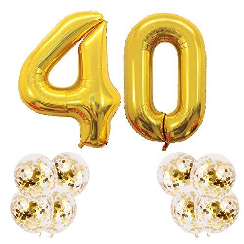 Youngneer - Balón de 40 años para mujer y hombre, 40 años, color dorado con número gigante, 40 números, 101 cm y 8 unidades de globos dorados para fiesta de cumpleaños