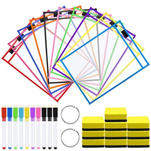 Meetory - 10 fundas de borrado en seco reutilizables de 25,5 x 35 cm, 10 colores, con 10 soportes para rotuladores, 10 gomas de borrar y 2 anillas metálicas