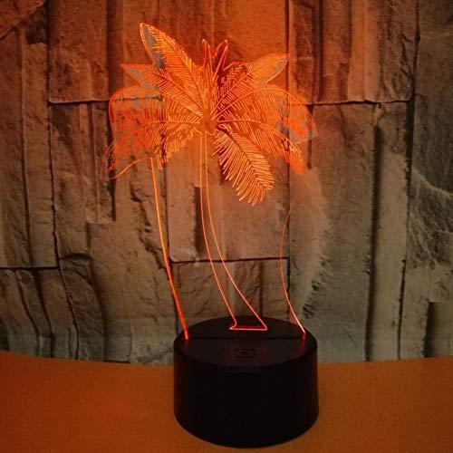 LIkaxyd LED 3D-nachtlampje, optische illusielamp 7 kleuren veranderen, Touch USB & batterij-aangedreven speelgoed decoratieve lamp, beste cadeau voor kinderen-palmboom