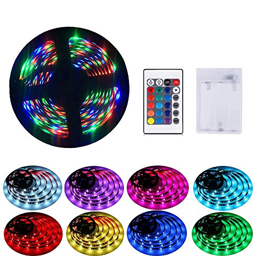 LED Streifen batterie,IP65 wasserdicht 2M LED Stripes Lichtband Stripe Lichterkette Bänder für Innen Außen Beleuchtung Dekorative