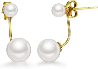 18K Gold Freshwater Pearl Earring Set 2 in 1 Stud and Drop Earrings Fine Jewelry for Women