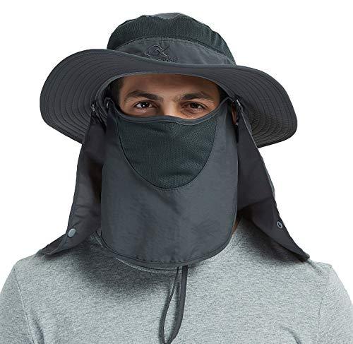 DDYOUTDOOR 07-281 Fashion Summer Outdoor Sun Protection Fishing Cap Neck Face Flap Hat Wide Brim (Dark Gray)