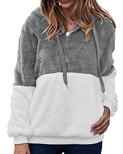 LIVACASA Bluza damska zimowa ciepła bluza z kapturem, miękka dziewczęca, oversized Teddy polar, sweter z kapturem, puszysty sweter zimowy, sweter z długim rękawem, z 2 kieszeniami, Spleciony jasnoszary, M