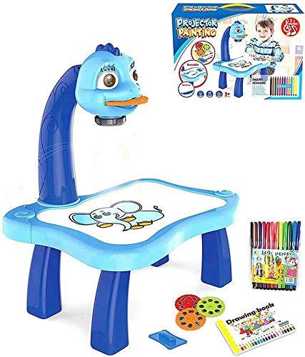 Mesa de pintura por proyección para niños, juguete proyector, dibujo con luz musical, para niños con 3 discos de imágenes diferentes, 12 bolígrafos de color (azul)