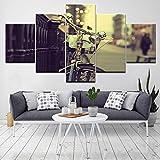 Alquilar una bicicleta en la calle Arte moderno Impresión en lienzo paisaje urbano 5 piezas Fondos de pantalla Póster Pintura de arte modular para sala de estar-10x15 10x20 10x25cm
