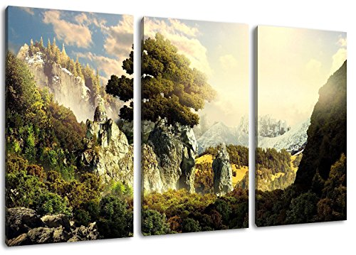 natural paradise 3-Teilig(120x80cm) auf Leinwand, XXL riesige Bilder fertig gerahmt mit Keilrahmen, Kunstdruck auf Wandbild mit Rahmen
