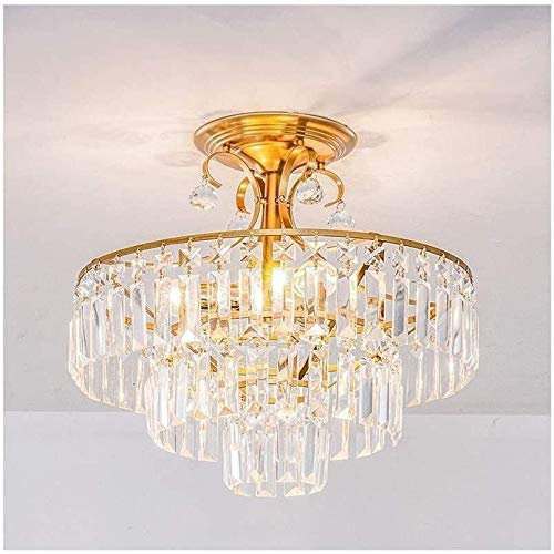 Diaodeng plafondlamp kroonluchter 3 lagen chroom frame transparant wafel 45 cm diameter DD plafondlamp