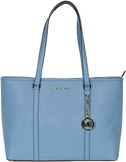Michael Kors Large SADY Carryall Shopper Tote Shoulder Handbag Pale Blue