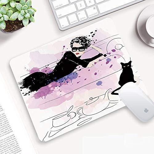 Gaming Mauspad,Fashion Decor, Mädchen mit Sonnenbrille auf Couch Cat Elegance im H,Abwischbar Matte Multifunktionales Office rutschfeste Gaming Matte für Computer, PC und Professionelle Gamer320x250mm
