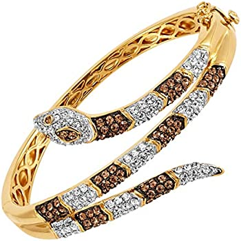 Crystaluxe Snake Hinged Wrap Bangle Bracelet in 18K Gold-Plated Bronze