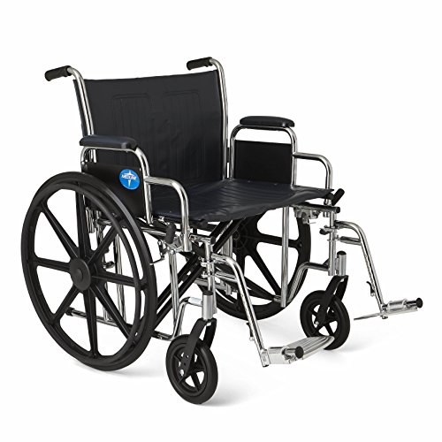 Medline Excel Extra-Wide Wheelchair, 24' Wide Seat, Desk-Length Removable Arms, Swing Away Footrests, Chrome Frame