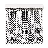 Cortinas Exterior Puerta de Cordon | 72 Tiras Plastico PVC y Barra Aluminio | Ideal para Terraza y Porche | Antimoscas | Transparente-Negro | 210 * 90