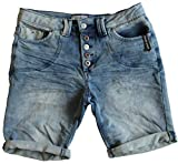 30 Farben Damen Jeans Bermuda Short by Eight2Nine Boyfriend Look tiefer Schritt Jeansbermuda mit...
