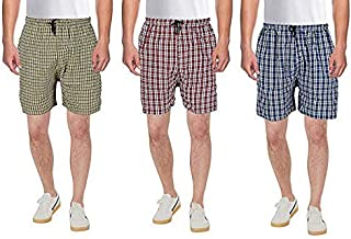 71fd4a3347 Worivo Cotton Check Printed Multi Colour Casual Shorts for Mens (Pack of 3)  (