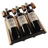 PYROJEWEL 3-Tier apilable Vino Vino Rack Bastidores for Las Botellas Perfecto for Bar Cava Cueva gabinete despensa (Color: Marrón, Tamaño: 32x13x30cm)