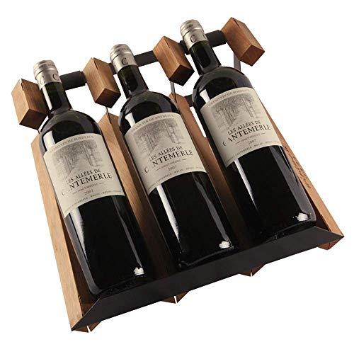 XUSHEN-HU 3-Tier apilable Vino Vino Rack Bastidores for Las Botellas Perfecto for Bar Cava Cueva gabinete despensa (Color: Marrón, Tamaño: 32x13x30cm) Hogar