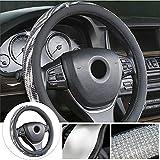 FHKBK Cubierta del Volante para KIA Sportage-R VQ Carens Picanto Koup Rio Car Shining Cover Antideslizante Bling Bling Diamond Cover Negro