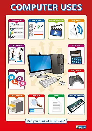 """Computer Uses  Technology and Computing Posters  Gloss Paper Measuring 33"""" x 235""""  ICT Charts for The Classroom  Education Charts by Daydream Education"""