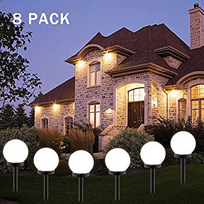 BORITE Solar Lights Outdoor,8 Pack LED Solar Garden Light Decorative,Solar Globe Light Waterproof Outdoor Landscape Path Light White Light