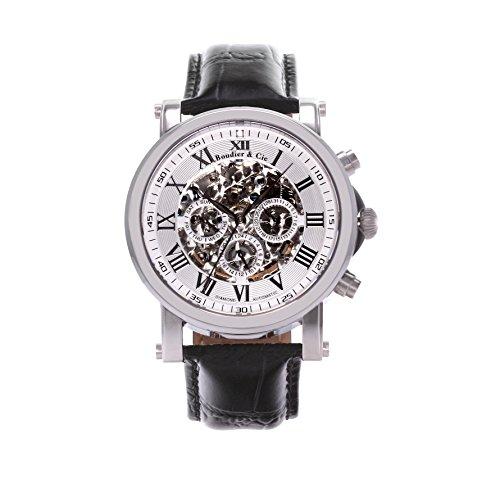 Boudier and Cie Automatik Uhr Armbanduhr für Männer Herren mit einem echten Diamanten Analoge Anzeige Skelettuhr und Leder Armband in Schwarz Herrenuhr Männeruhr SK14H039