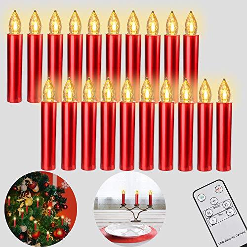 Freepower 20er LED Weihnachtskerzen mit Fernbedienung Timer Dimmbar, Christbaumkerzen Kabellose Weihnachtsbaumkerzen für Weihnachtsbaum Weihnachtsdeko Hochzeit. Halloween-Dekoration (Rot)