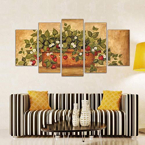 Axqisqx Home Decor muurschildering met 5 modulaire aardbeien van vaas, muurkunst, HD-kleur, gedrukt op canvas.