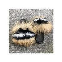 [Workings] 女性の毛皮のスリッパ毛皮女スライドホーム毛皮のフラットサンダルかわいいふわふわハウスシューズビーチサンダルとしてShown26,10