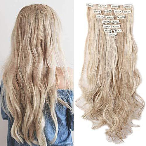 Clip in Extensions Haarverlängerung Haarteil 8 Tressen wie Echthaar gewellt Sandy Blonde & Blond Bleichen-1 61 cm