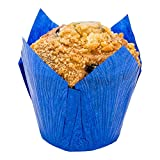 Panificio Premium 4 oz Blue Paper Tulip Baking Cup: Paper Baking Cups Perfect for Muffins, Cupcakes or Mini Snacks - Greaseproof - Disposable and Recyclable - 200ct Box - Restaurantware