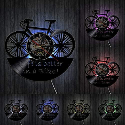 Reloj de pared con luces LED para motocicleta, diseño de lema de motociclistas, para decoración del hogar, con texto en inglés Life Is Better On a Bike