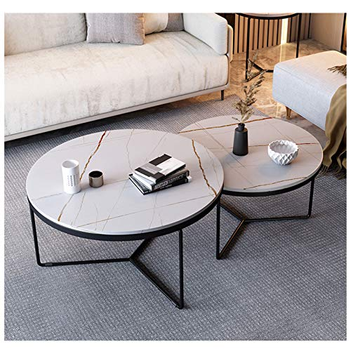 Amrai Round Coffee Table Set of 2 Modern Home Furniture, Side Table Industrial Nesting Tables Tea Table Living Room Sintered Stone Top, White