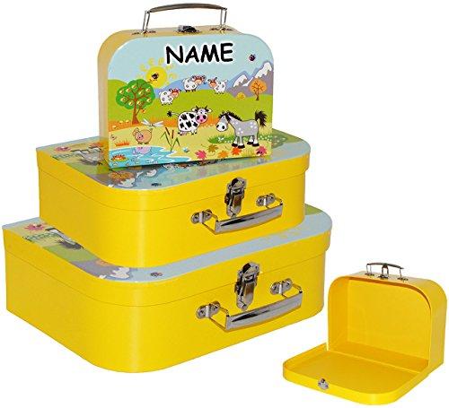 alles-meine.de GmbH 3 Stück _ Koffer / Kinderkoffer - in 3 verschiedenen Größen -  Bauernhof / Tiere  - incl. Name - Kofferset - ideal für Spielzeug und als Geldgeschenk - Mädc..