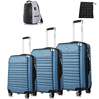 Travel Joy Hard Shell Luggage Set TSA Spinner Luggage Lightweight Carry On 3 Piece (20  24  28 ) Blue