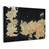 Hd8yehao Game-Of-Thrones Map Of Westeros Canvas Wall Art Prints Picture Modern Paintings Home Decoration Giclee Artwork Wood Frame Gallery Stretched