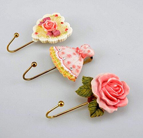 CHENGYIDA Lot de 3 crochets muraux en résine en forme de rose, cœur, robe, chapeau, manteau