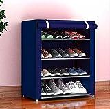 AYSIS Multipurpose Portable Folding Shoes Rack 4 Tiers Multi-Purpose Shoe Storage Organizer Cabinet...