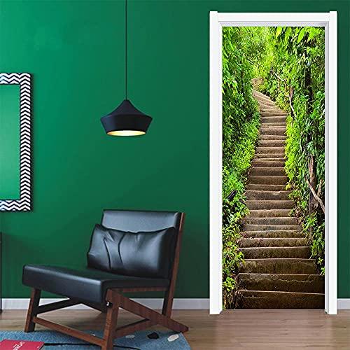 3D Puerta Engomada del Arte Mural de la Moderno,Hojas verdes frescas, escalerasEtiqueta de Puerta Autoadhesiva Extraíble Impermeable dormitorio decoración del hogar 77x200cm