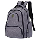 Qimiaobaby diaper bag backpack, multifunctional and large-capacity travel diaper storage bag (gray)