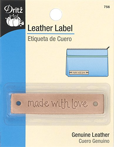 "Dritz 756 Rectangle Leather Label, ""made with love"""