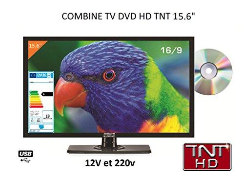 ANTARION Télévision TV HD LED + Lecteur DVD de 39 CM pour Camping Car 220v/12v/24v