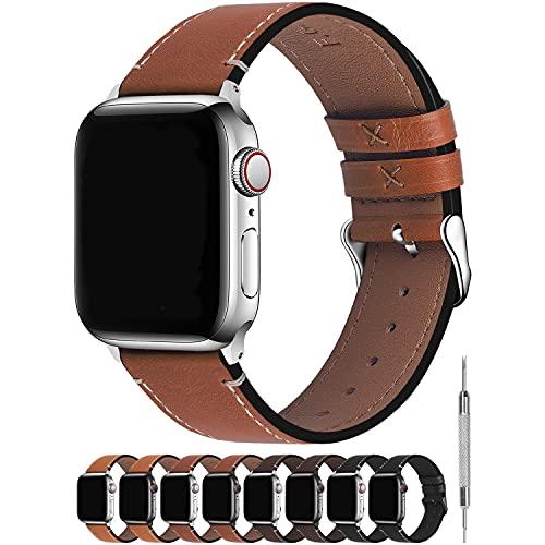Fullmosa Correa Apple Watch Series SE 6/5/4/3/2/1, 4 Colores, Vintage Pulsera de Cuero Reemplazo de Apple Watch para Mujeres Hombres, Marrón Oscuro + Hebilla Plata, 42mm/44mm