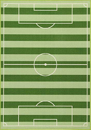 Bavaria Home Style Collection - hochwertiger Fußball-Teppich fürs Kinder-Zimmer I Robustes großes Fußballfeld für Jungs & Mädchen Jugend-Zimmer I toller Warmer Spiel-Teppich grün 133 x 190 cm