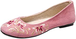 Aiweijia Ladies Solid Color Floral Pattern Low Top Dance Embroidered Shoes