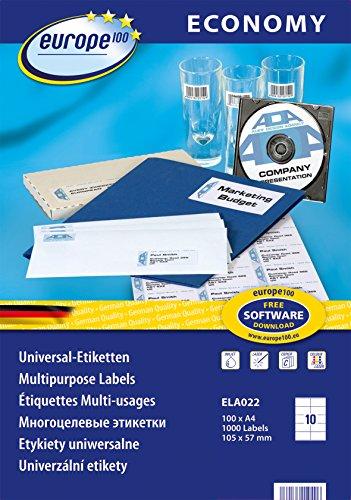 europe100 ELA022 Universaletiketten (105 x 57 mm, 100 Blatt/1000 Etiketten) weiß