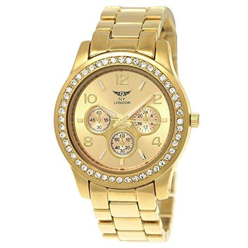 Elegante Ny London Damen-Uhr Strass Analog Quarz Armband-Uhr in Gold Chronograph Optik Uhr