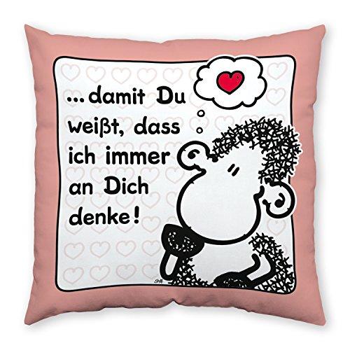 sheepworld 42694 Baumwoll Spruch Damit Du weißt, DASS ich Immer an Dich denke, Geschenk, 40 cm x 40 cm Kissen, Rosa