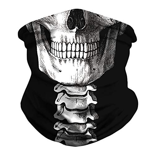 Skull Face Mark Bandana Mask Mouth Cover Face Mark Bandanas Skull Balaclava Covered Coronae Virtues Protection Skull Neck Gaiter for Dust,Outdoors,Festivals,Sports Black White